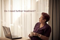 Image showing an Asian senior woman wondering if she needs further treatment for breast cancer as discussed in a blog at CALMERme.com