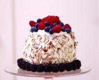 Watermelon cake with coconut cream looking at blood glucose levels from CALMERme.com