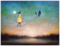 Image shows woman walking on a rope held by a flying bird to illustrate persistence and faith as described in the book reviewed on ZeroBreastCancer.org as shown on CALMERme.com
