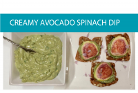 Creamy avocado spinach dip infographic from CALMERme.com