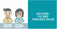 Haloumi fig and avocado salad blog header for CALMERme.com