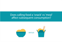 Blogheader for post looking at calling foods snack versus meal and subsequent food intake from CALMERme.com