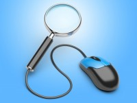 Image showing a computer mouse attached to a magnifying glass to signify the online searches you can do to identify a clinical trial that might be appropriate for you, as described in this article on CALMERme.com
