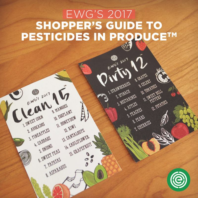 2017 Updated Dirty Dozen and Clean Fifteen fruits and vegetables