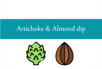 Blogheader for artichoke and almond dip from CALMERme.com
